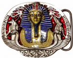KING TUTANKHAMUN BELT BUCKLE with display stand. Product Code: BL1